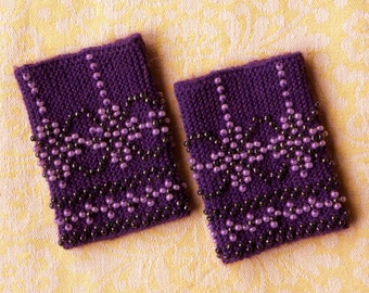 Purple beaded wrist warmers