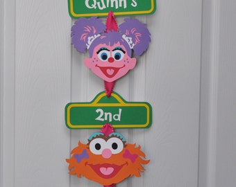 Girly Sesame Street Birthday Party Door Sign