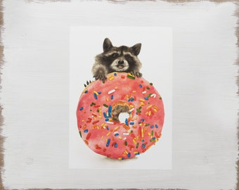 Donut Raccoon Print -- Woodland Animal Print // Watercolour Illustration Limited Edition Art