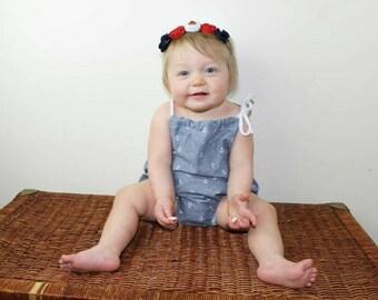 Baby Girl Sunsuit Romper / Girls Sunsuit / Baby Romper/ Girls Romper / Baby Sunsuit / Girl Clothing / Kids Clothing / Baby Clothing