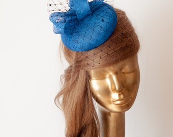 Royal BLUE FASCINATOR. Sinamay Bridal Fascinator with Veil . Derby Mini Hat