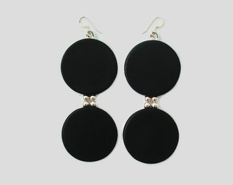 Leather Disc Earrings with Sterling Silver Beads, Double Disc Earrings, Big Earrings, Black Leather Statement Earrings, Gift For Her