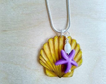 Yellow Shell Necklace, Purple Starfish, Mother of Pearl