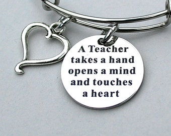 """Stainless Steel """" A Teacher Takes A Hand Opens A Mind And Touches A Heart """", Teachers Gift ,  Teacher Appreciation , School Year end Gift"""