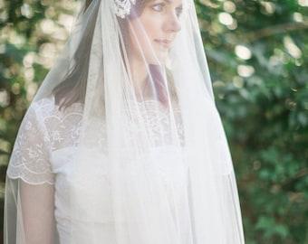 Juliet veil, Wedding veil with blusher, lace wedding veil, heirloom wedding veil, English net bridal veil, wedding veil Style 811