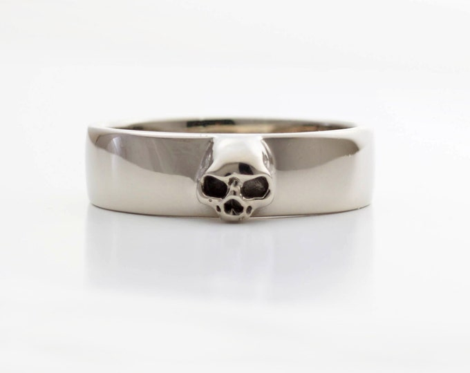 Mens Skull Wedding Ring White Gold Grooms Skull Ring Goth Groom Ring Small Mens Skull Ring Psychobilly Wedding Band Wedding Set All Sizes