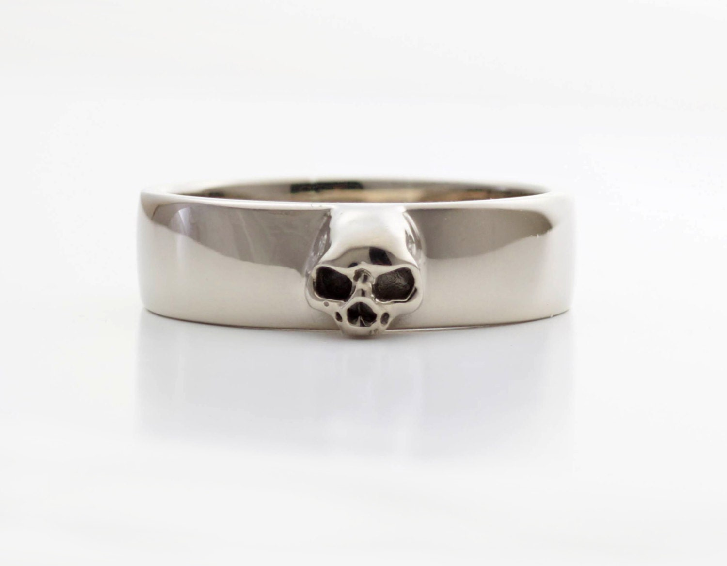 Mens Skull Wedding Ring White Gold Grooms Skull Ring Goth Groom