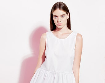 Sweet Cotton Top / White Top / Peplum Blouse / Open Back Top / Sexy Top / Sleeveless Top / Resort Clothing / Trendy Top