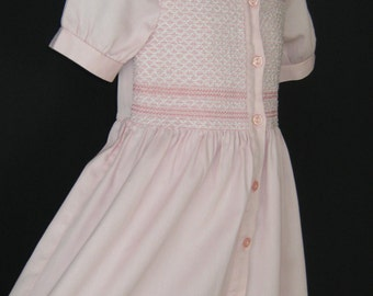 LAURA ASHLEY Vintage Mother&Child Label Baby Pink Shirred Summer Dress, 5 Years