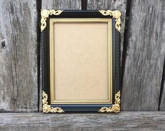Black and Gold Picture Frame, 5x7,4x6, Ornate Frame, wedding, Gold decor,Black frame, baroque, Los angeles