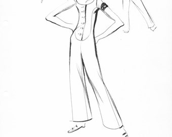 House of Courreges Original Vintage Fashion Sketch Stat Sheet 258