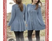Hand knitted fitted jacket cardigan with cables for ladies women S - XXXL - made to order