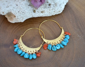 gemstone hoop earrings /// gold moon crescent earrings adorned with sleeping beauty turquoise and coral /// CALYPSO earrings