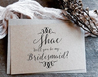 Will you be my Bridesmaid Card, Flower Girl Card, Maid of Honour Card