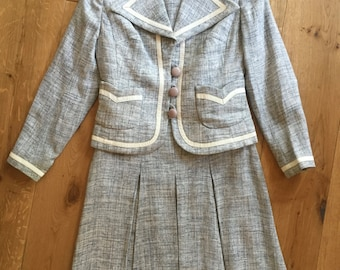 60s Linen fitted Dress & Jacket trimmed with Leather Mark Russell