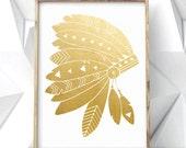 LARGE Genuine Gold Foil Art Gold Foiled Headdress Artwork Golden Feather Gold Leaf Geometric Art Real Gold Leafed Native American Art