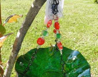 Green Transparent Stained Glass Bird Bath Feeder for Christmas