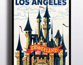 Vintage Disney Print Disneyland Print Disney Poster Los Angeles Travel Print Walt Disney Wall Art Art Prints Wall Decor Illustration