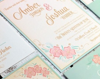 Floral Wedding Invitation Suite SAMPLE SET, Wildflower Floral Invitation Sample, Floral Wedding Invites // Mint and Pink Wedding