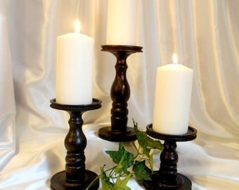 Lathe-turned Wooden Black Textured Metallic (Original) - Pillar Candle Holders Set of 3 - Made in USA