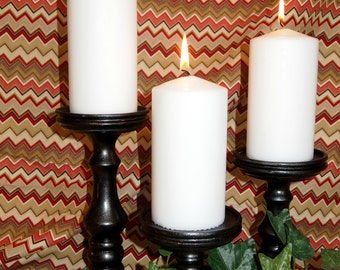 Captivation, Lathe-turned Black Satin Pillar Candle Holders Set of 3- MADE IN USA