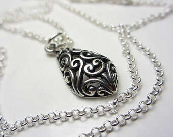 925 Sterling Silver Necklace with Intricate Design Handcrafted Teardrop Necklace Swirling Necklace Victorian Style Vintage Style Gift / Her