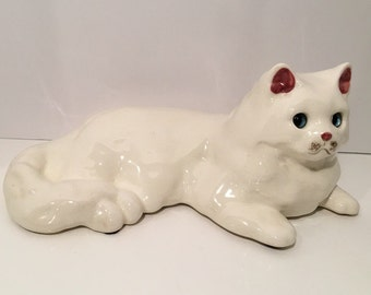 White Cat Statue/Figure Large Blue Glass Eyes by N.S. GUSTIN CO