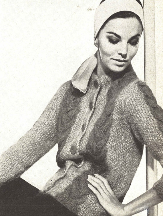 Vogue Knitting Cardigan Pattern : Mohair Cardigan 1960s Knitting Cabled Sweater Coat Jacket