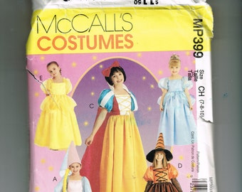 Princess Dress Halloween Costume Pattern, Vintage McCall's MP399 Girls' Dress up, Size CH 7-8-10 Snow White, Witch, Fairy