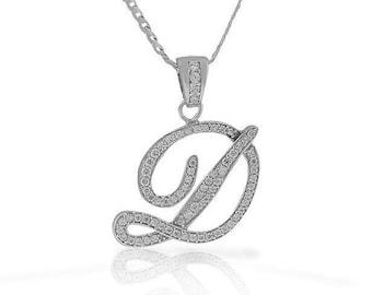 Letter D Cursive Initial CZ Pendant .925 Sterling Silver