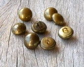 Brass Buttons, Vintage Brass Shank  Buttons,  Sewing Supplies, 14mm  Buttons