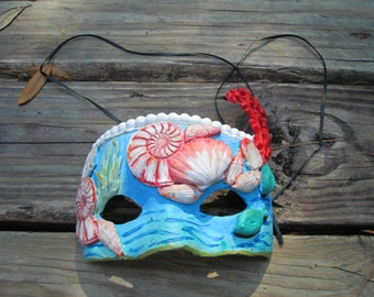 Beach, Coral, Mermaid mask, seashells, Costume mask, handmade, Masquerade ball, ocean waves,