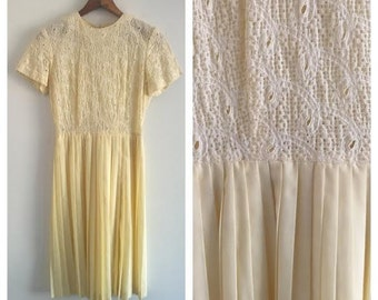 Vintage 60's Yellow Pleated Day Dress | Size Small
