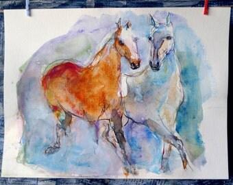 HORSES  - Original watercolor - wall art -Color