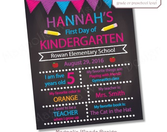 Printable Back to School Chalkboard, First Day of School Chalkboard, First Day of Kindergarten Chalkboard, First Day of Preschool Chalkboard