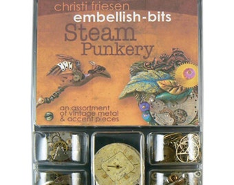 Steam punk micro assortment of vintage metal, watch parts, pieces, and accents by Christi Friesen Steam punkery