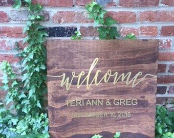 Wood & Gold Foil Wedding Welcome Sign