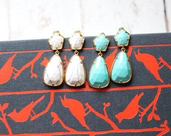 The Scott - White or Turquoise - Light Gold Earrings