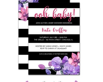 Black & White Baby Shower Invitation, Boho, Flower, Stripes, Watercolor Baby Shower, Pink, Purple, Baby Girl, Printable  File or Printed
