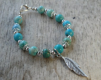 Turquoise and Feather Bracelet