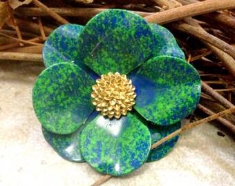 Blue Green Flower Brooch Pin Medium Green Gold Hand Painted Metal Flower Broach Retro Brooch Enamel Flower Brooch Bouquet Pin Green Lapel