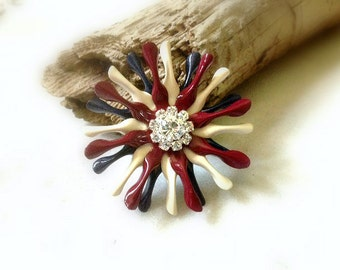 Small Primitive Patriotic Metal Flower Brooch Red White and Blue Enamel Flower Broach Firework Flower Red Ivory Navy Rhinestone Flower Pin
