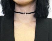 Mini Orio Choker - minimal choker, silver faux leather choker, silver collar necklace, minimal jewelry choker necklace