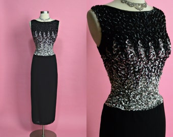 """MR FRANK New York 1950's 1960's Vintage Black and Silver Sequin Sparkly Long Evening Gown Party Dress New Years Eve Holiday Dress 27"""" Waist"""