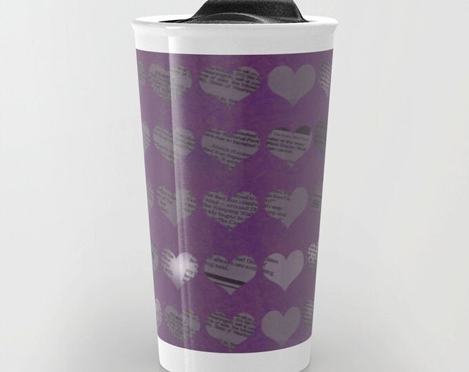 Purple Travel Mug - Newspaper Hearts  - Coffee Travel Mug - Hot or Cold Travel Mug - 12oz Travel Mug -Made to Order