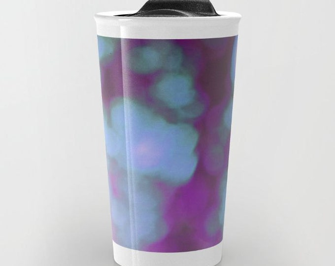 Purple Bokeh Travel Mug Ceramic - Coffee Travel Mug - Hot or Cold Travel Mug - 12oz Travel Mug -Made to Order