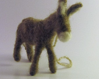 Brown Donkey Ornament, Hand Felted Donkey Ornament, Wreath Decoration, Farm Animal Themed Nursery Decoration