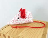 Cat toy, child toy, pocket pet, valentine cat toy, valentine child toy, valentine mouse, heart fabric, red ears and tail