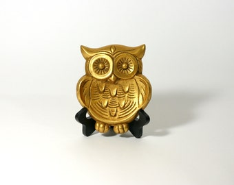 Owl Jewelry Holder, Metal, Brass, Trinket Dish, Wall Decor, Spoon Rest, 1970s- 80s