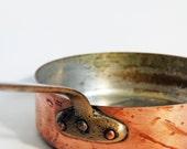 large vintage antique copper french sauté pan pot